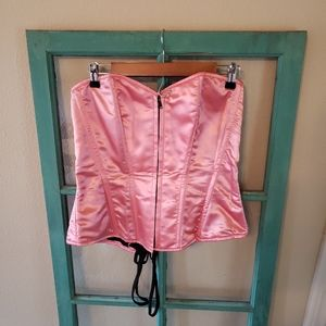 Daisy corset steel boned pink sexy lace up Xl